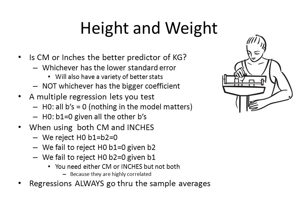 Height and Weight Is CM or Inches the better predictor of KG