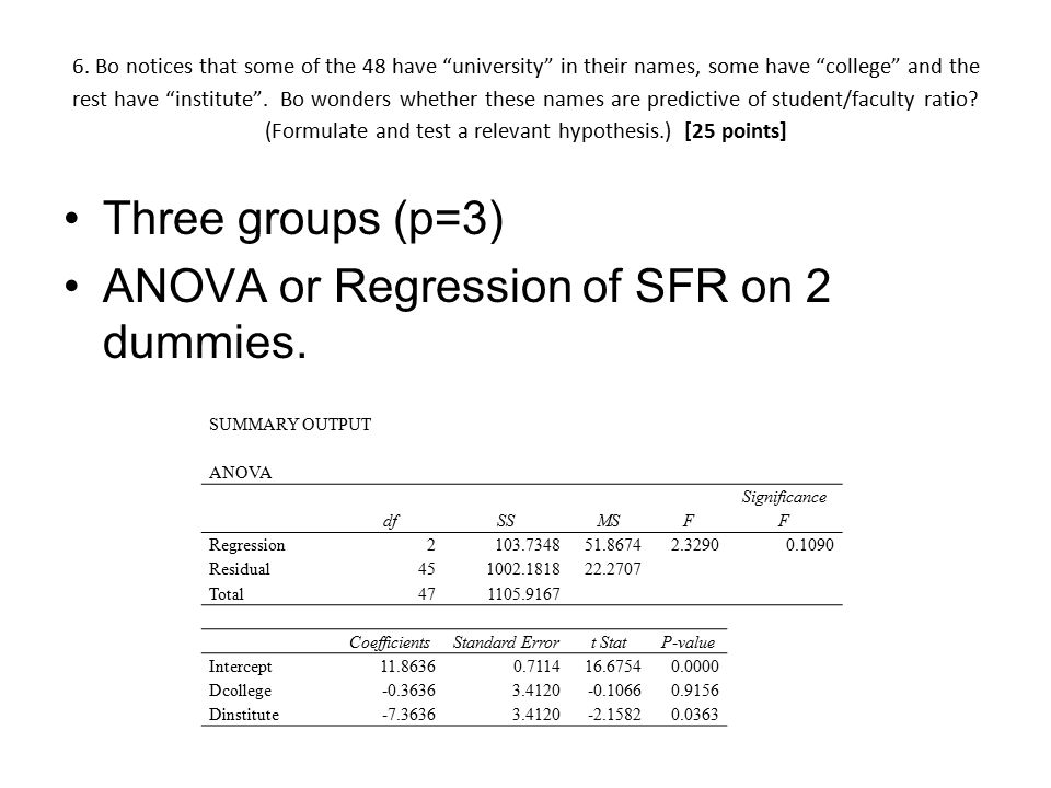 ANOVA or Regression of SFR on 2 dummies.
