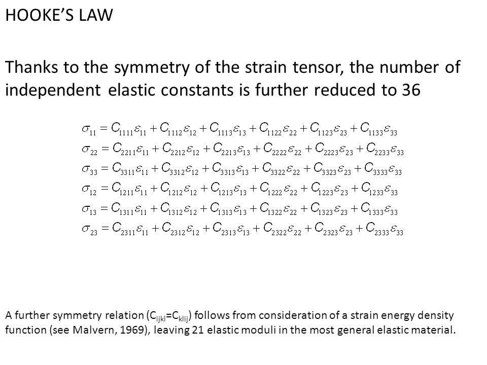 HOOKE'S LAW Thanks to the symmetry of the strain tensor, the number of independent elastic constants is further reduced to 36.