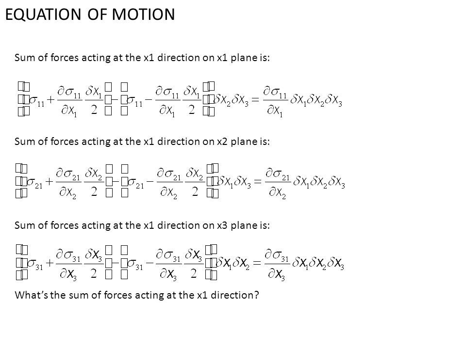 EQUATION OF MOTION Sum of forces acting at the x1 direction on x1 plane is: Sum of forces acting at the x1 direction on x2 plane is: