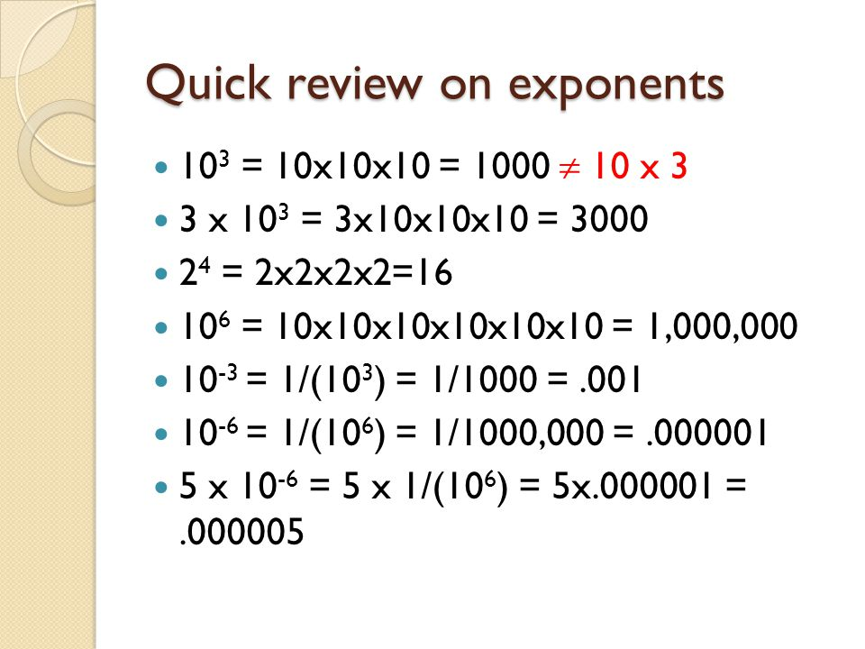 Quick review on exponents