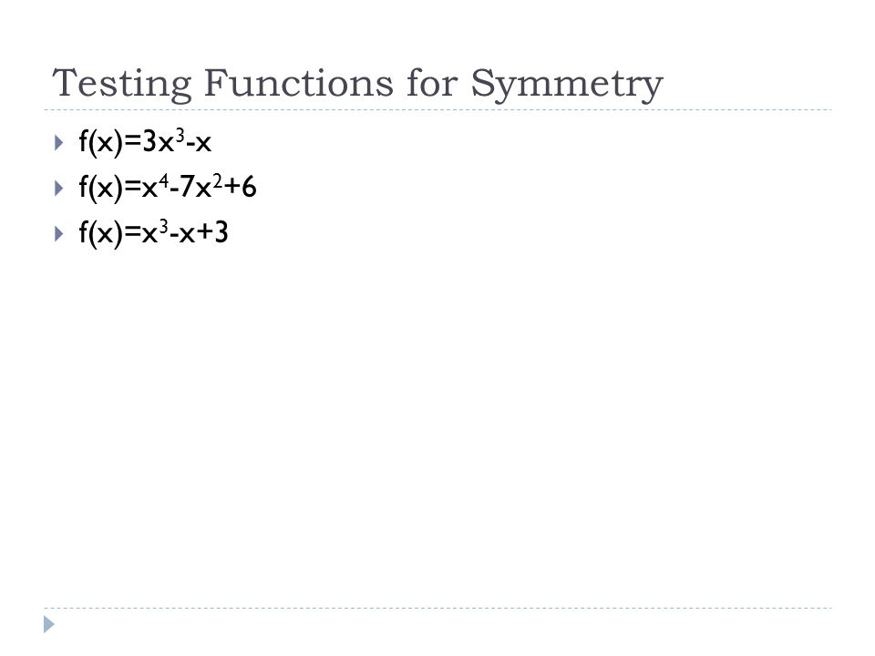 Testing Functions for Symmetry