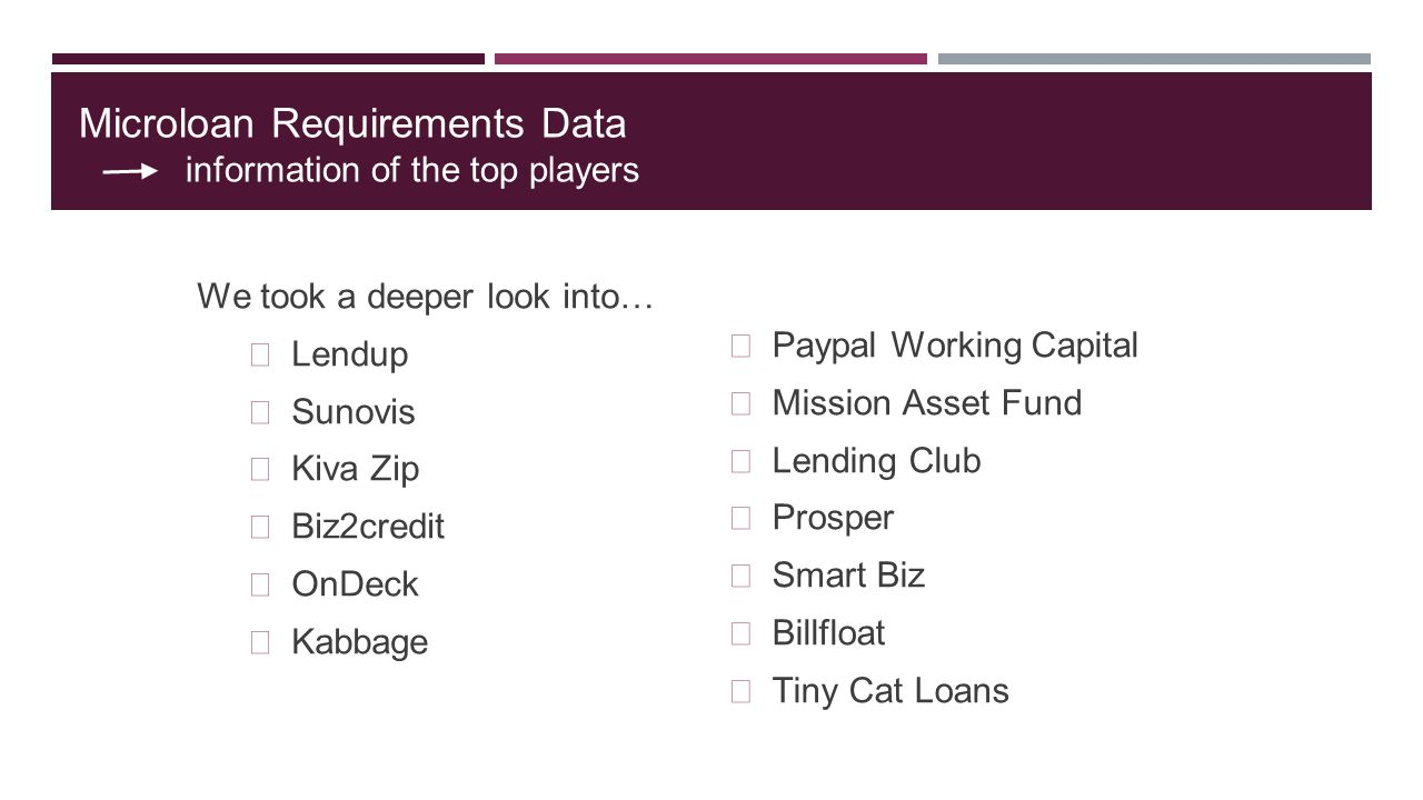 Microloan Requirements Data information of the top players