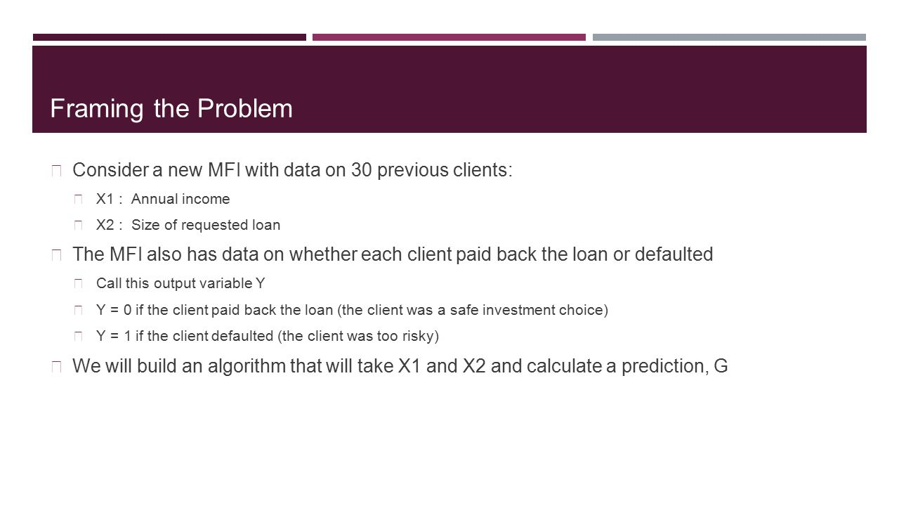 Framing the Problem Consider a new MFI with data on 30 previous clients: X1 : Annual income. X2 : Size of requested loan.