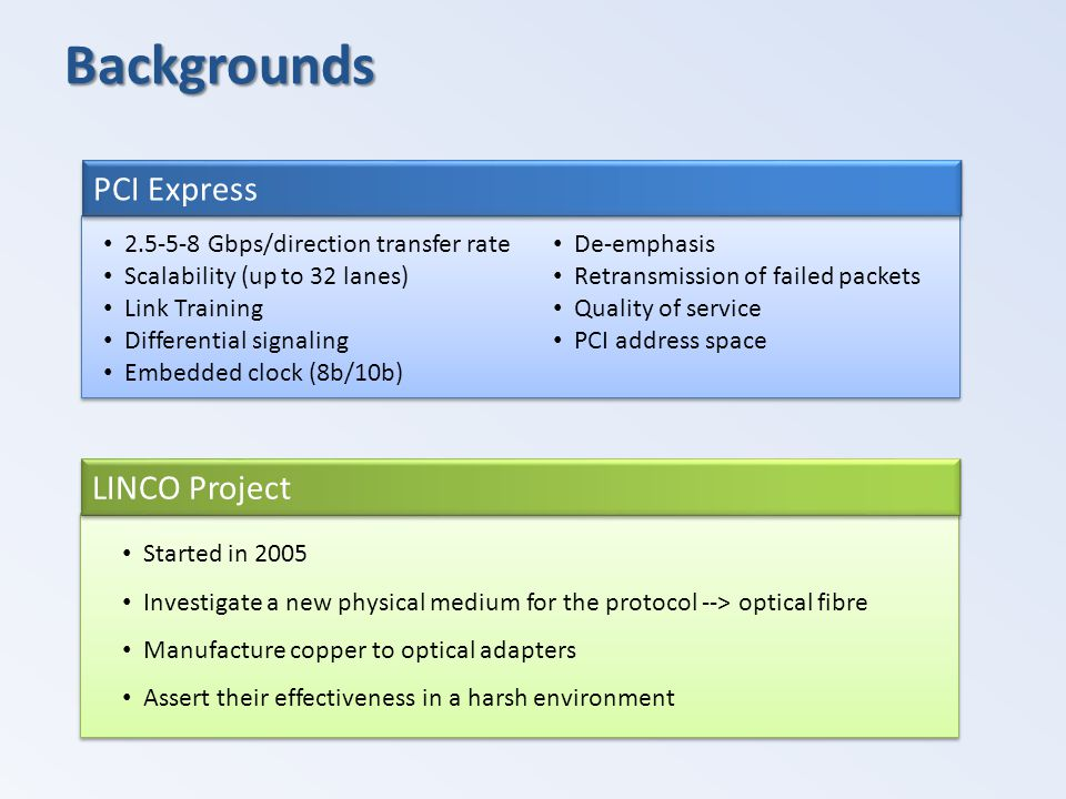 Backgrounds PCI Express LINCO Project