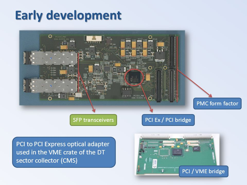 Early development PCI to PCI Express optical adapter