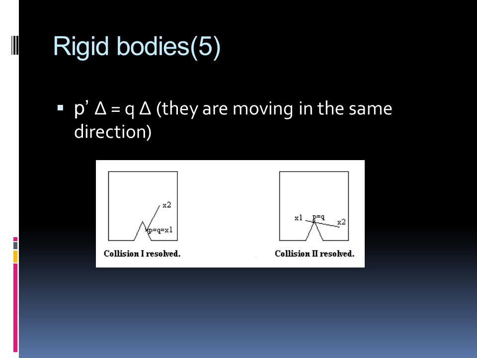 Rigid bodies(5) p' ∆ = q ∆ (they are moving in the same direction)