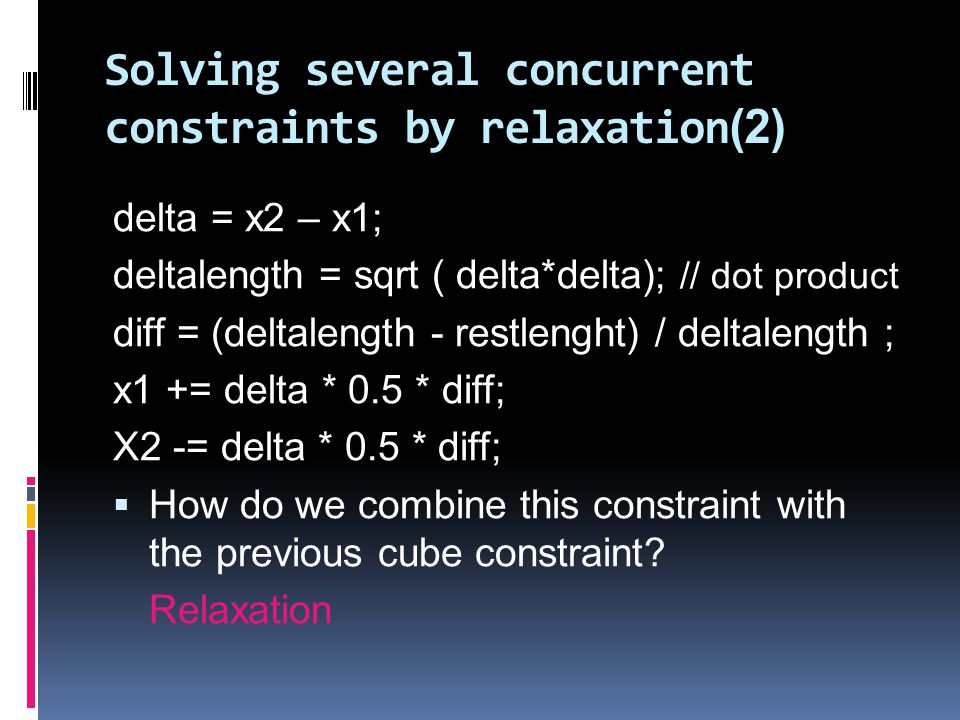 Solving several concurrent constraints by relaxation(2)