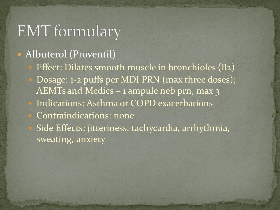 EMT formulary Albuterol (Proventil)