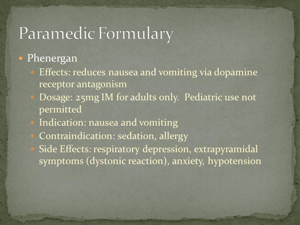 Paramedic Formulary Phenergan