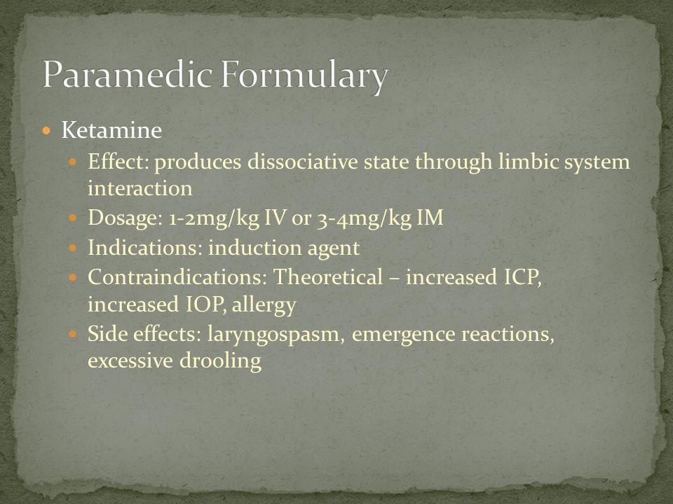 Paramedic Formulary Ketamine