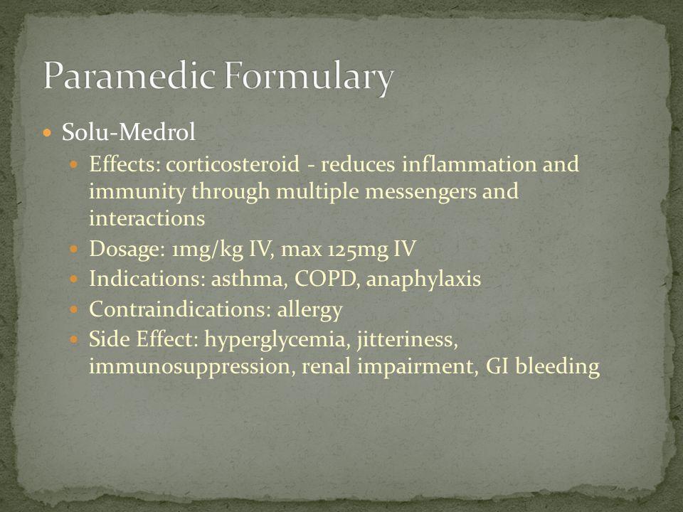 Paramedic Formulary Solu-Medrol