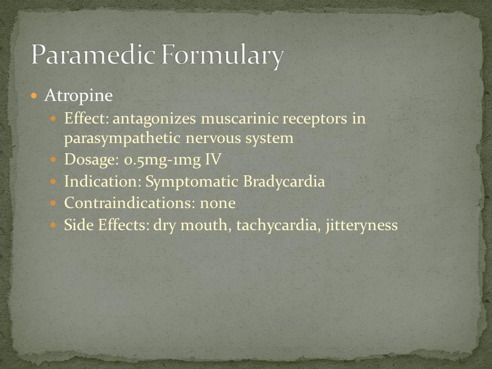 Paramedic Formulary Atropine