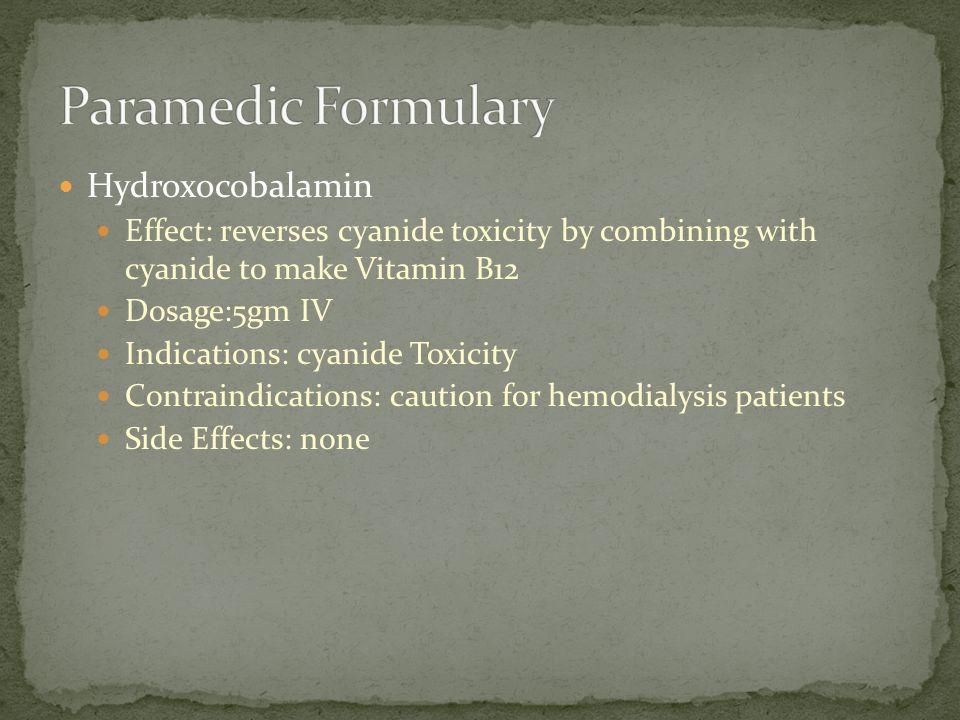 Paramedic Formulary Hydroxocobalamin
