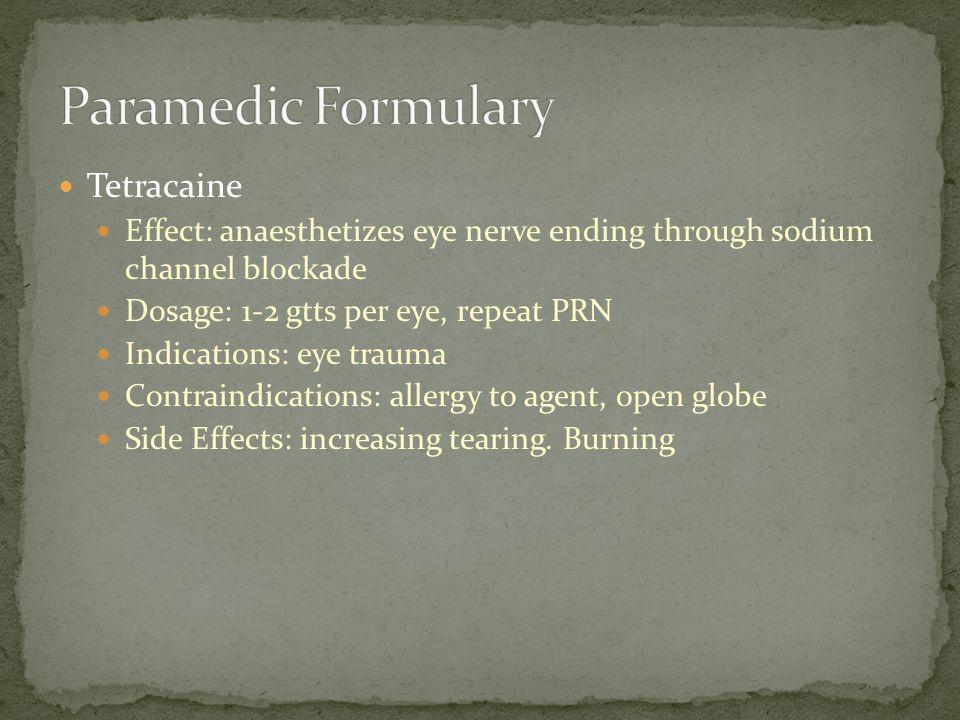 Paramedic Formulary Tetracaine