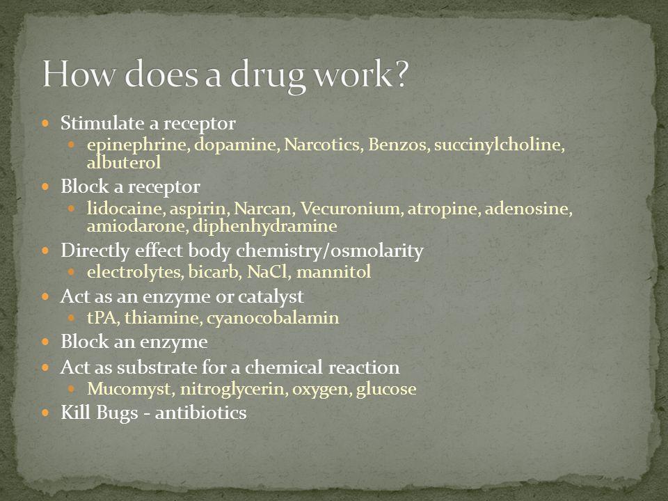 How does a drug work Stimulate a receptor Block a receptor