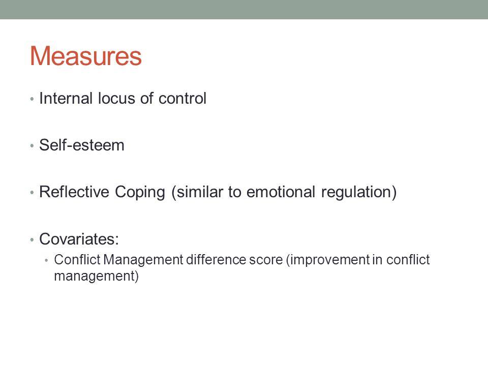 Measures Internal locus of control Self-esteem
