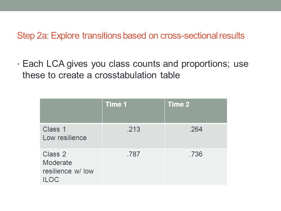 Step 2a: Explore transitions based on cross-sectional results