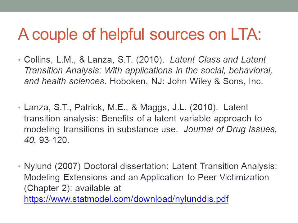 A couple of helpful sources on LTA: