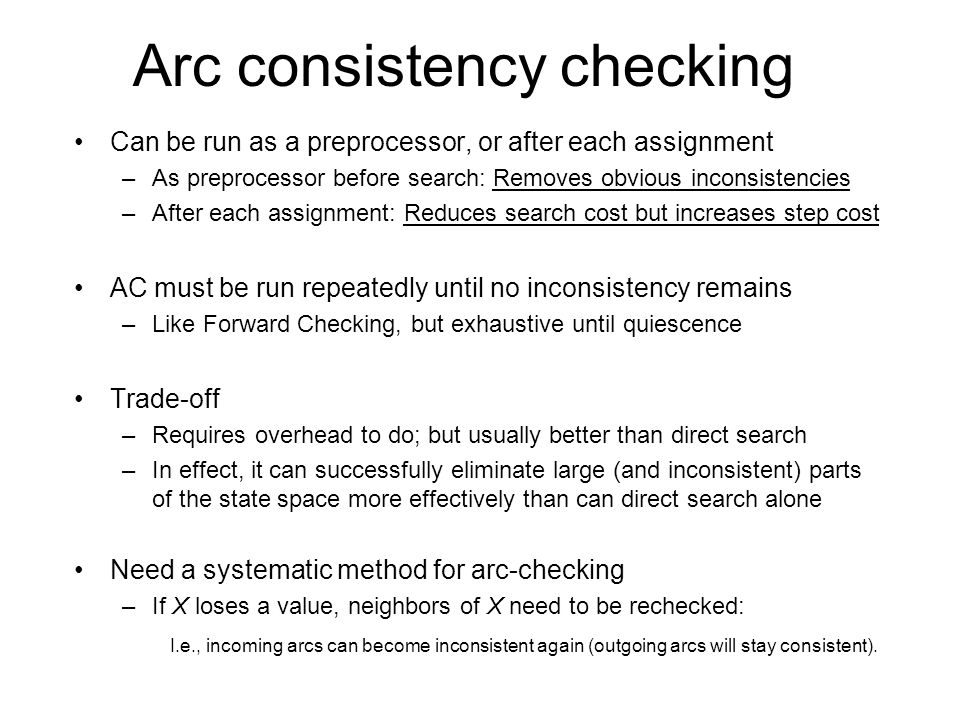 Arc consistency checking