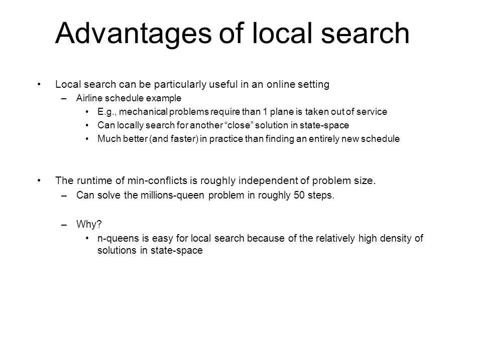 Advantages of local search