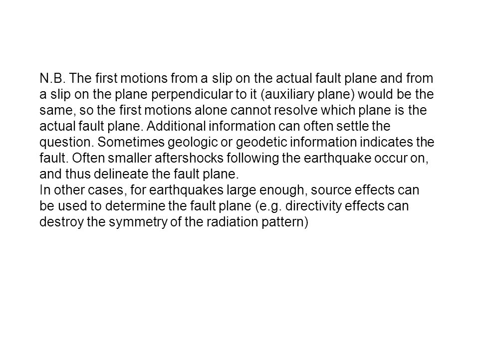 N.B. The first motions from a slip on the actual fault plane and from a slip on the plane perpendicular to it (auxiliary plane) would be the same, so the first motions alone cannot resolve which plane is the actual fault plane. Additional information can often settle the question. Sometimes geologic or geodetic information indicates the fault. Often smaller aftershocks following the earthquake occur on, and thus delineate the fault plane.