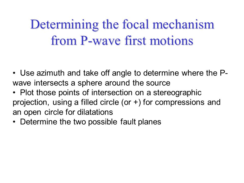 Determining the focal mechanism from P-wave first motions