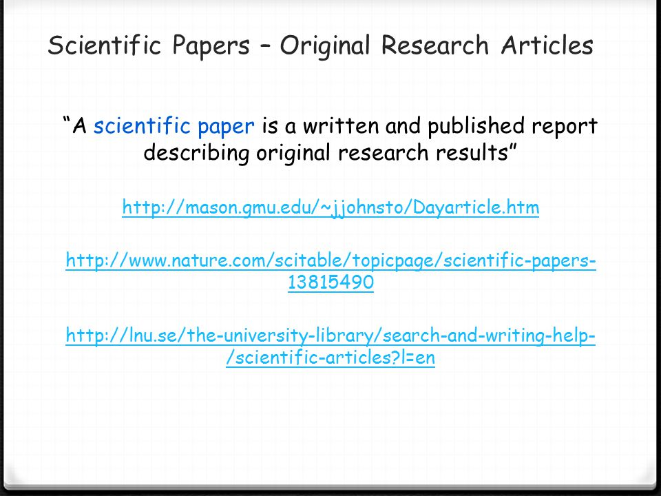 Scientific Papers – Original Research Articles
