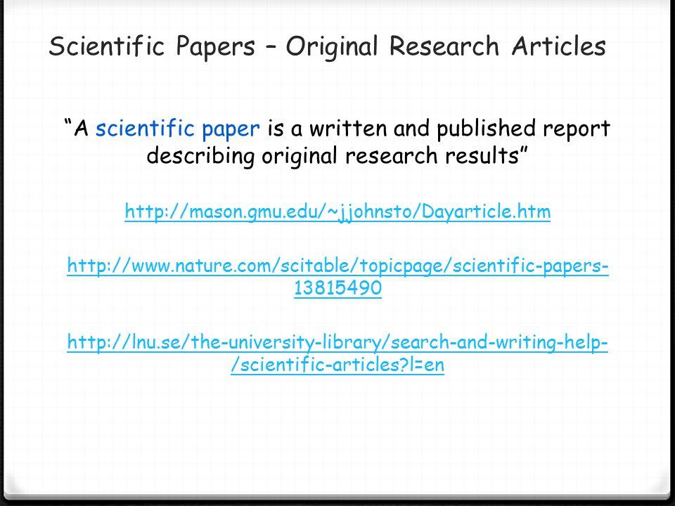 Scientific Papers – Original Research Articles