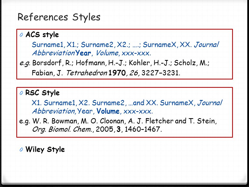 References Styles ACS style