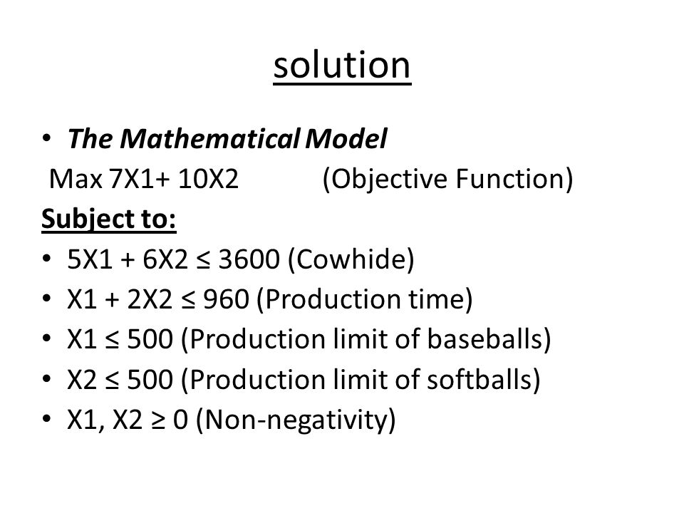 solution The Mathematical Model Max 7X1+ 10X2 (Objective Function)