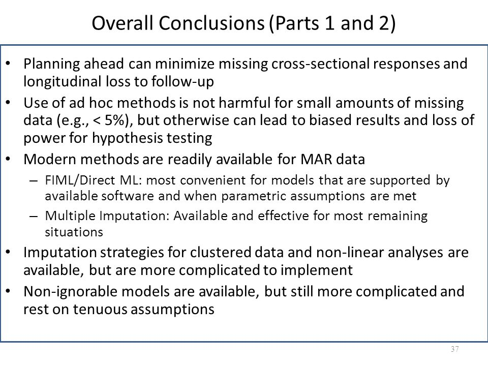 Overall Conclusions (Parts 1 and 2)