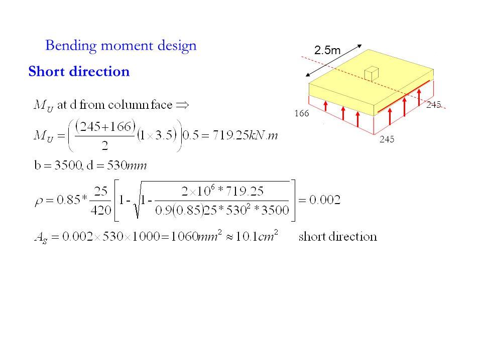 Bending moment design 2.5m 245 166 Short direction