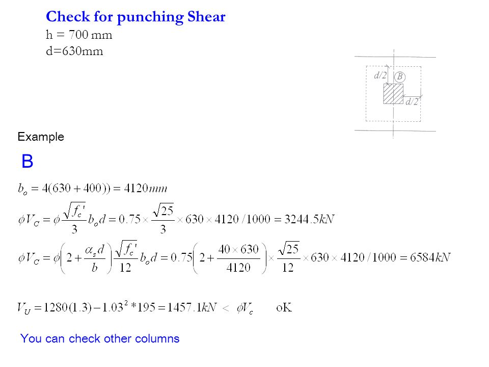 B Check for punching Shear h = 700 mm d=630mm Example