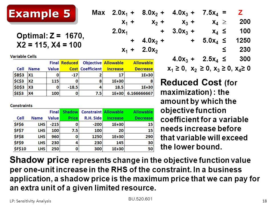 Example 5 Max. 2.0x1. + 8.0x2. 4.0x3. 7.5x4. = Z. x1. x2. x3. x4.  200. 3.0x3. ≤ 100.