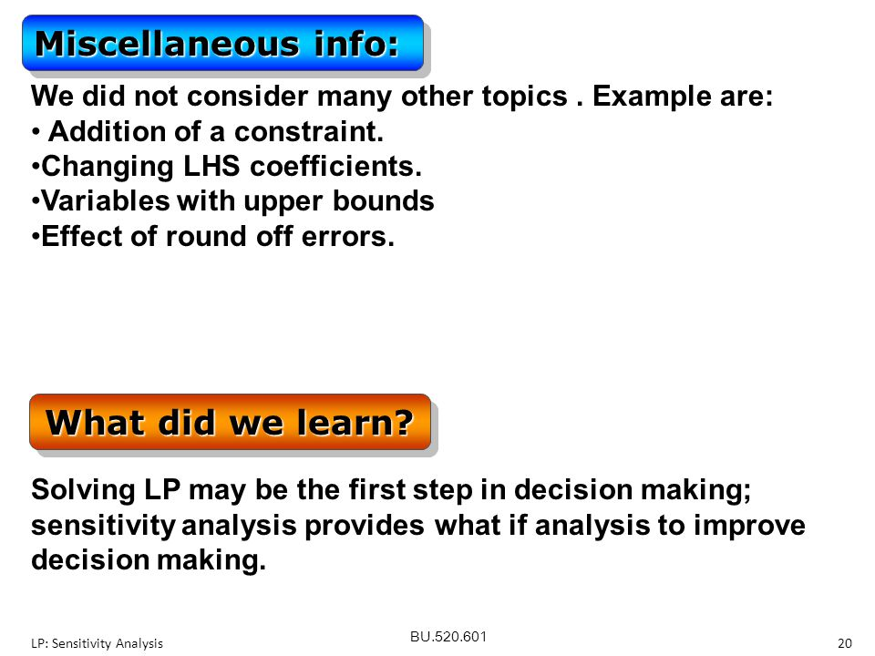 Miscellaneous info: What did we learn