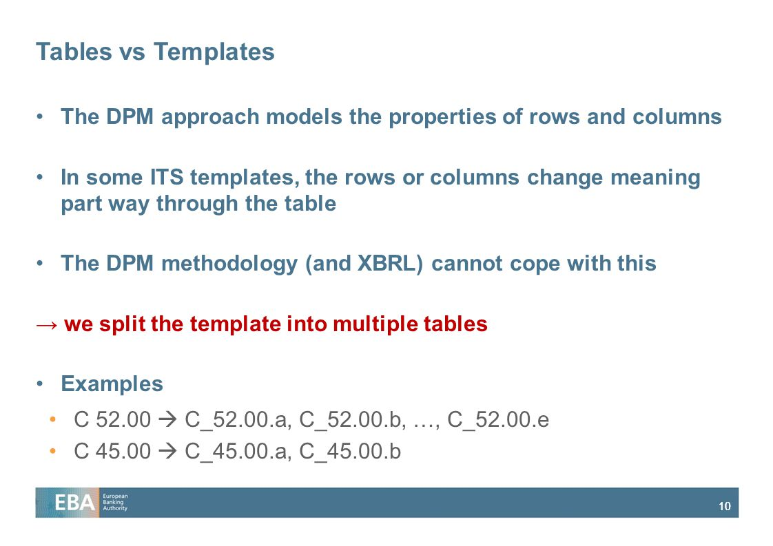 Tables vs Templates The DPM approach models the properties of rows and columns.