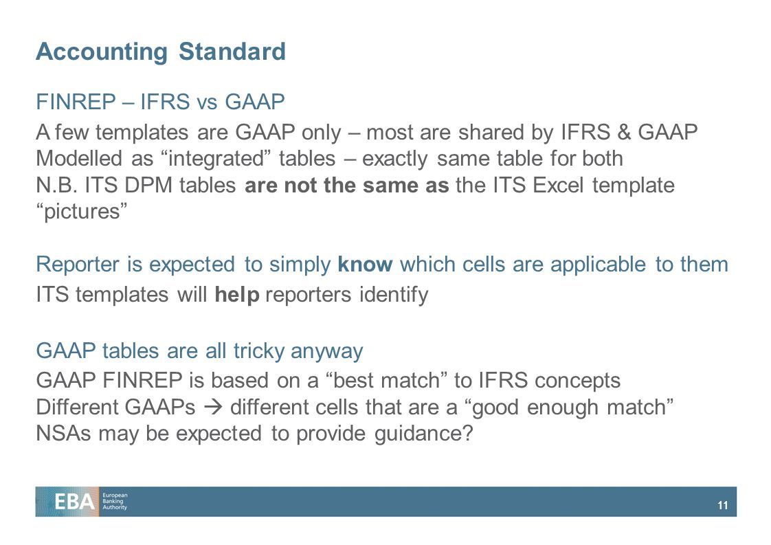 Accounting Standard FINREP – IFRS vs GAAP