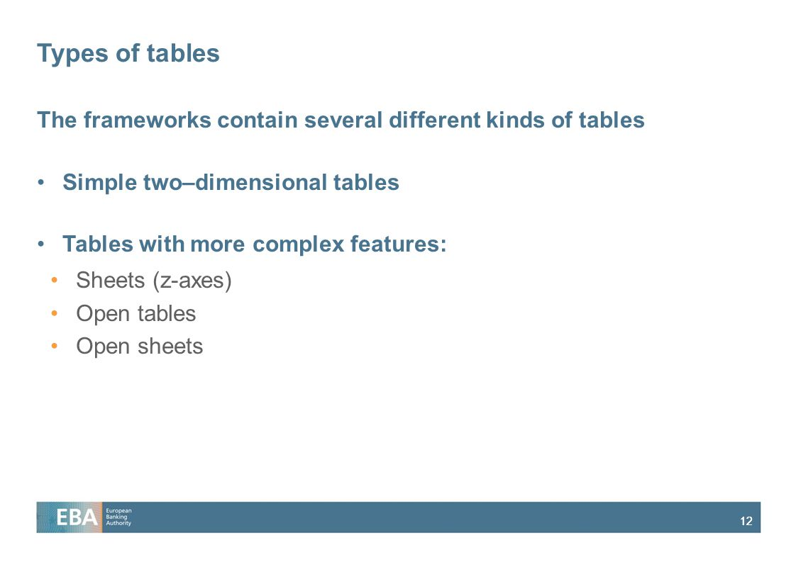 Types of tables The frameworks contain several different kinds of tables. Simple two–dimensional tables.