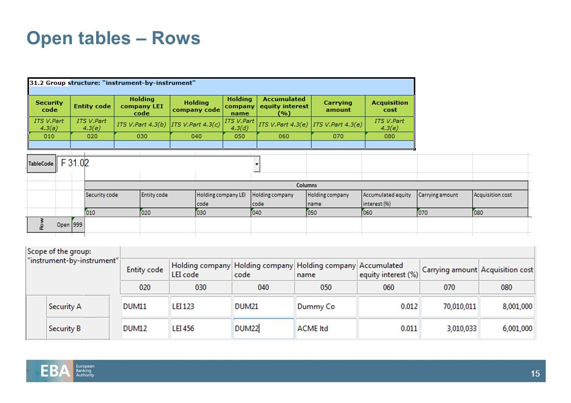 Open tables – Rows
