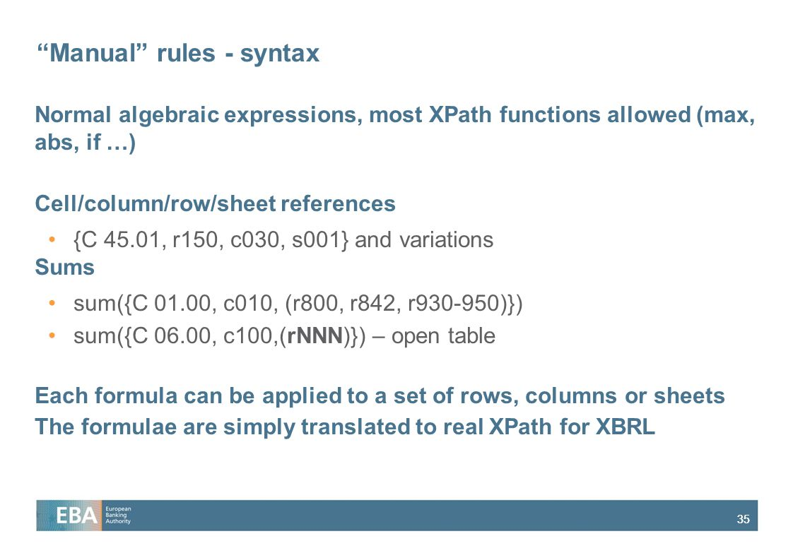 Manual rules - syntax