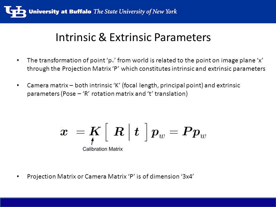 Intrinsic & Extrinsic Parameters
