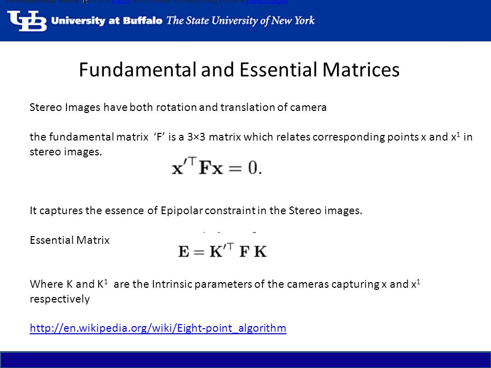 Fundamental and Essential Matrices