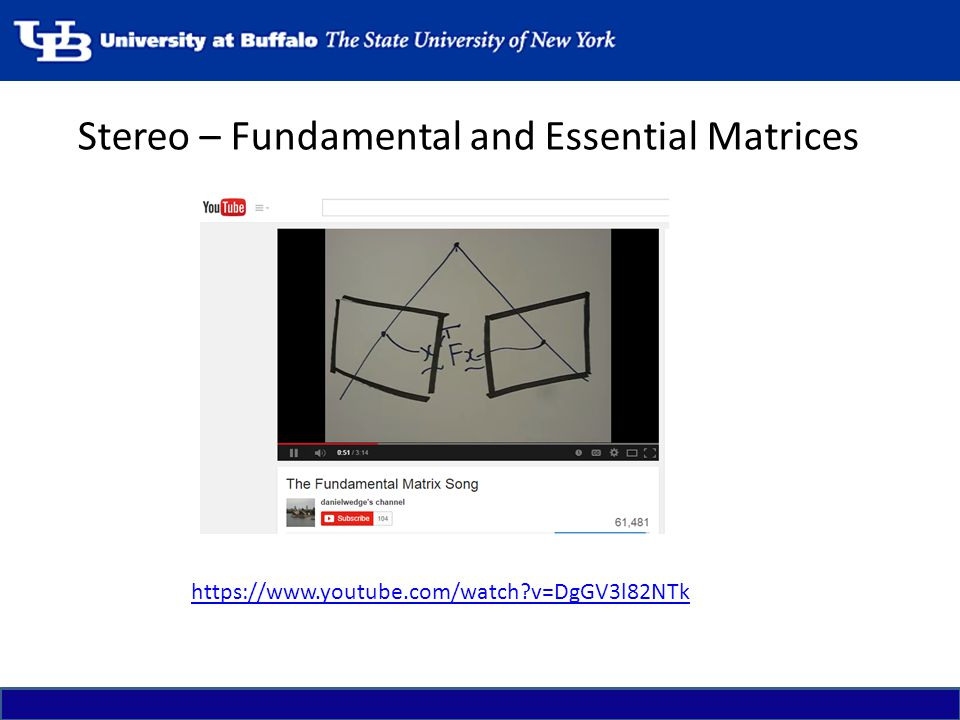 Stereo – Fundamental and Essential Matrices