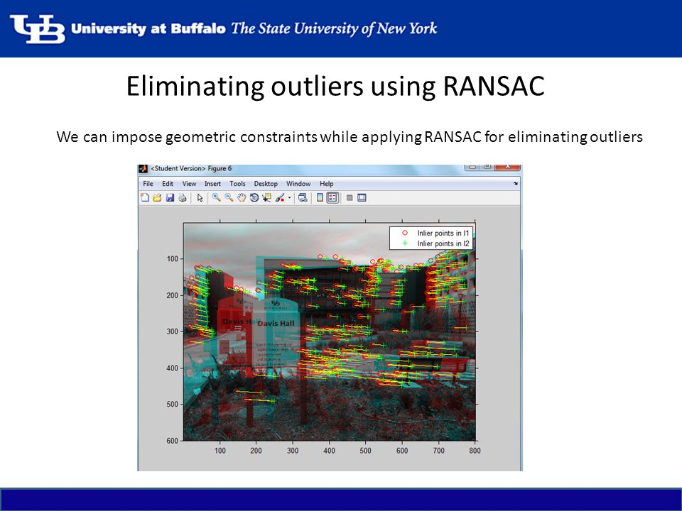 Eliminating outliers using RANSAC