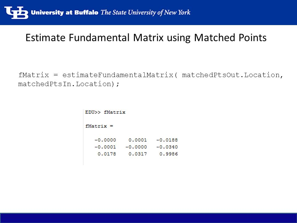 Estimate Fundamental Matrix using Matched Points