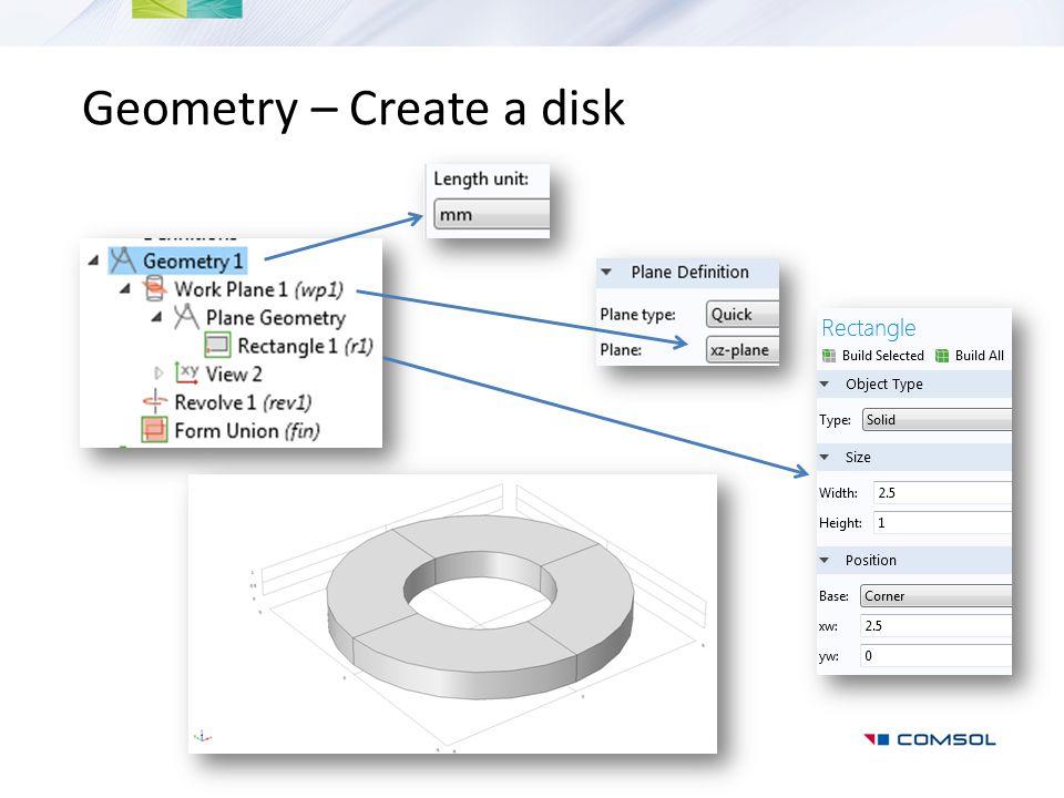 Geometry – Create a disk