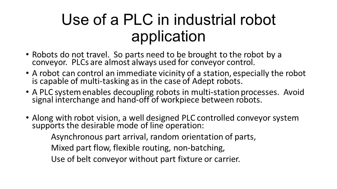 Use of a PLC in industrial robot application