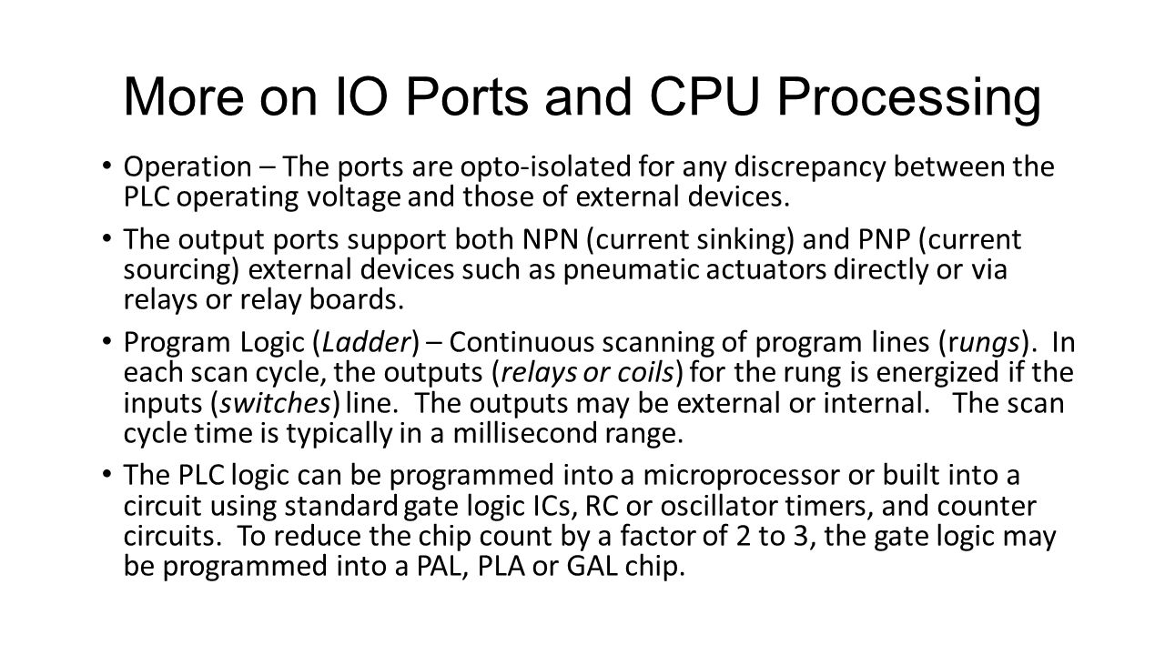 More on IO Ports and CPU Processing