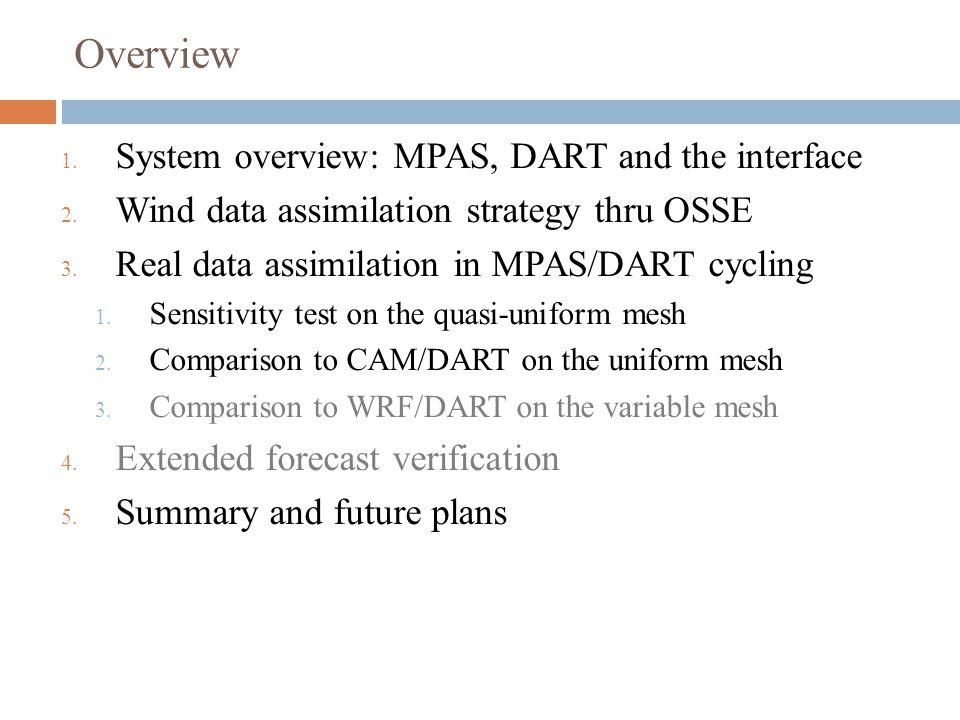 Overview System overview: MPAS, DART and the interface